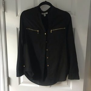 Black Calvin Klein blouse with gold zippers!